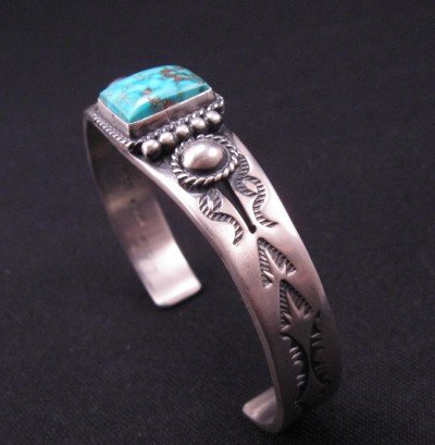 Image 7 of Andy Cadman Navajo American Indian Turquoise Silver Bracelet