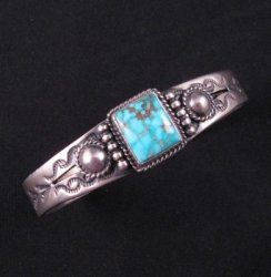 Andy Cadman Navajo American Indian Turquoise Silver Bracelet