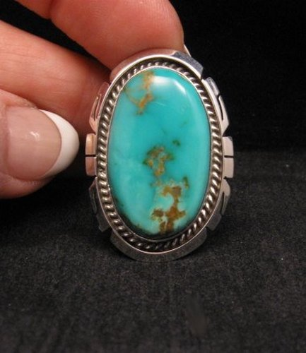 Image 0 of Native American Indian Navajo Kingman Turquoise Silver Ring Sz8-1/2