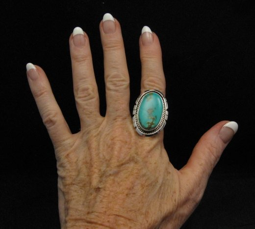Image 2 of Native American Indian Navajo Kingman Turquoise Silver Ring Sz8-1/2