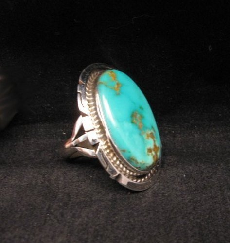 Image 3 of Native American Indian Navajo Kingman Turquoise Silver Ring Sz8-1/2