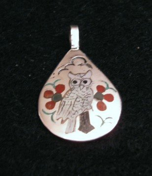 Image 0 of Zuni Native American White Snowy Owl Pendant, Sammy & Esther Guardian
