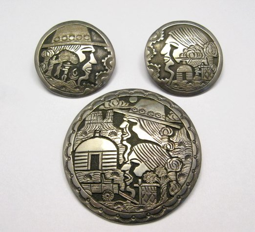 Image 0 of Vintage Navajo Silver Storyteller Pin and Earrings by ML Slim