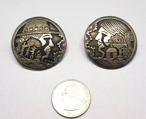 Image 1 of Vintage Navajo Silver Storyteller Pin and Earrings by ML Slim