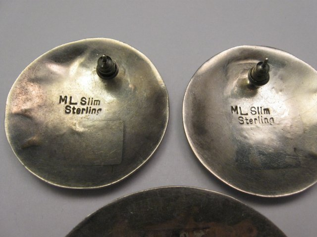 Image 5 of Vintage Navajo Indian Sterling Silver Pin and Earrings by ML Slim