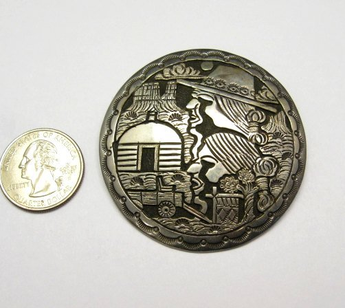 Image 2 of Vintage Navajo Silver Storyteller Pin and Earrings by ML Slim