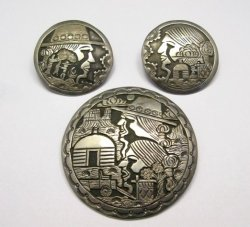 Vintage Navajo Silver Storyteller Pin and Earrings by ML Slim