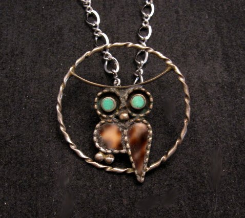 Image 0 of Vintage Native American Inlaid Owl Pendant w/ SS chain, Paul Lucario Jr