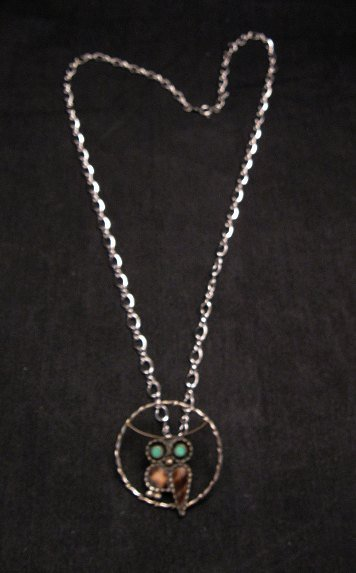 Image 1 of Vintage Native American Inlaid Owl Pendant w/ SS chain, Paul Lucario Jr