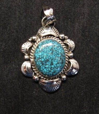 Image 0 of Navajo Native American Indian Kingman Web Turquoise Pendant, Gilbert Tom