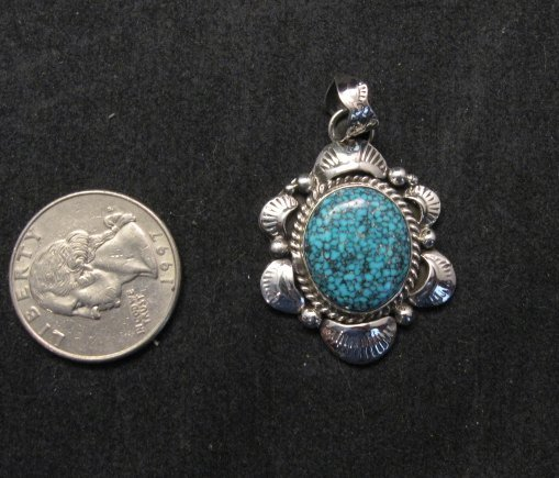 Image 1 of Navajo Native American Indian Kingman Web Turquoise Pendant, Gilbert Tom