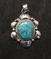 Navajo Native American Indian Kingman Web Turquoise Pendant, Gilbert Tom