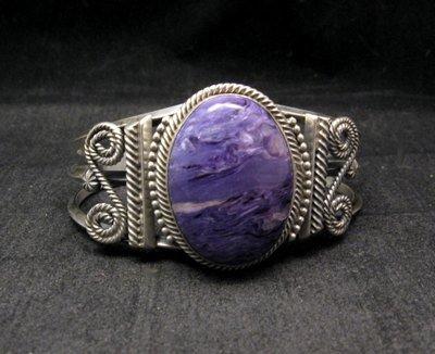 Image 0 of Navajo Native American Charoite Sterling Silver Bracelet, Gilbert Tom