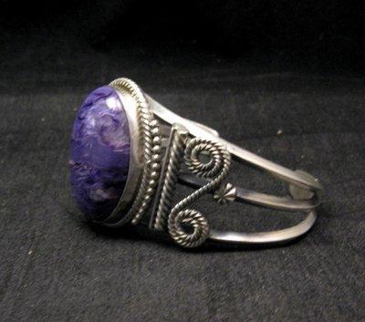 Image 1 of Navajo Native American Charoite Sterling Silver Bracelet, Gilbert Tom