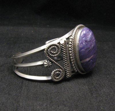 Image 2 of Navajo Native American Charoite Sterling Silver Bracelet, Gilbert Tom