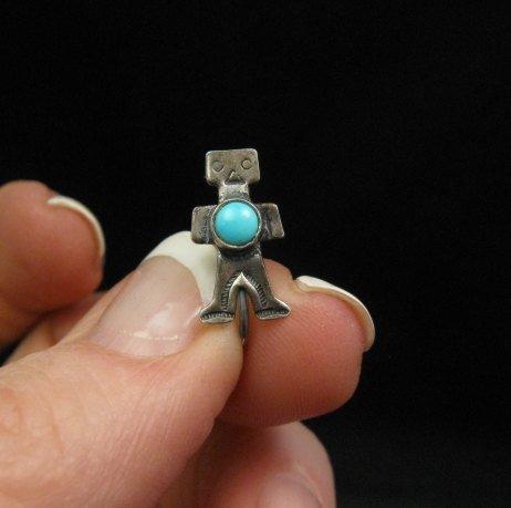 Image 1 of Vintage Turquoise Silver Kachina Yei Earrings Screw-backs