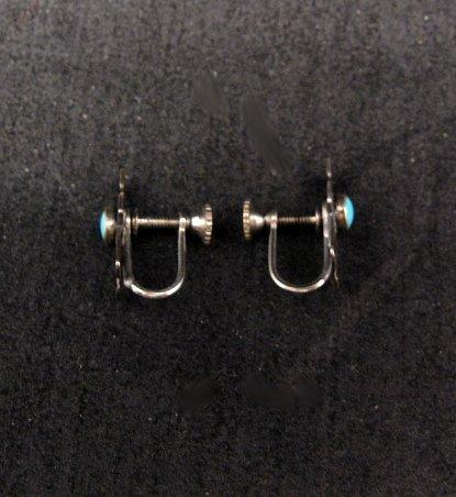 Image 2 of Vintage Turquoise Silver Kachina Yei Earrings Screw-backs