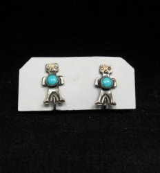 Vintage Turquoise Silver Kachina Yei Earrings Screw-backs