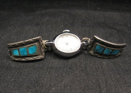 Image 0 of Vintage Native American Turquoise Inlay Watch Tips - Womans