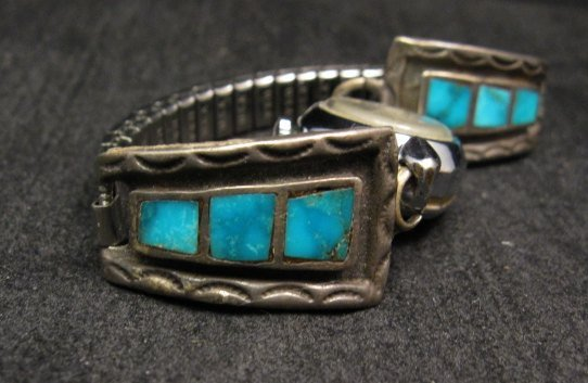 Image 1 of Vintage Native American Turquoise Inlay Watch Tips - Womans