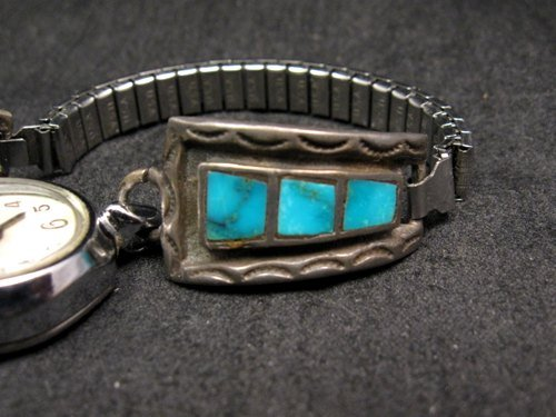Image 2 of Vintage Native American Turquoise Inlay Watch Tips - Womans