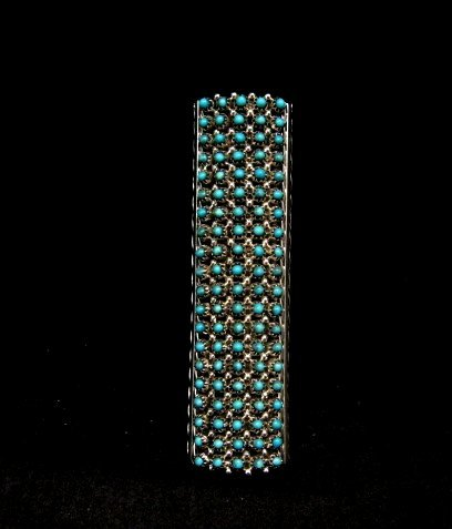 Image 0 of Zuni Turquoise 20row 100stones Snake Eye Ring, Steven Haloo sz8-3/4
