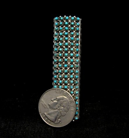 Image 2 of Zuni Turquoise 20row 100stones Snake Eye Ring, Steven Haloo sz8-3/4
