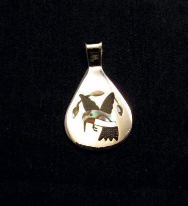 Image 3 of Sanford Edaakie, Zuni, Inlaid Hummingbird Silver Pendant