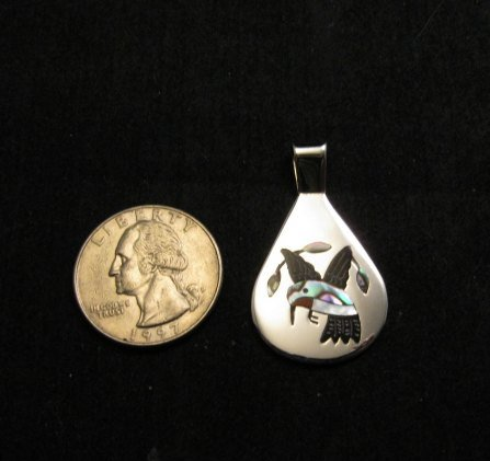 Image 2 of Sanford Edaakie, Zuni, Inlaid Hummingbird Silver Pendant