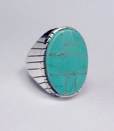 Image 1 of Ray Jack, Navajo, Turquoise Inlay Sterling Silver Mens Ring Sz12