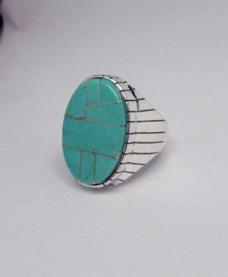 Image 2 of Ray Jack, Navajo, Turquoise Inlay Sterling Silver Mens Ring Sz12