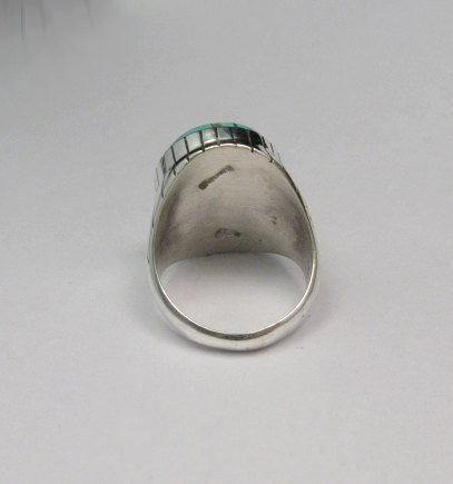 Image 3 of Ray Jack, Navajo, Turquoise Inlay Sterling Silver Mens Ring Sz12