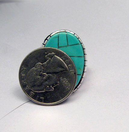 Image 4 of Ray Jack, Navajo, Turquoise Inlay Sterling Silver Mens Ring Sz12