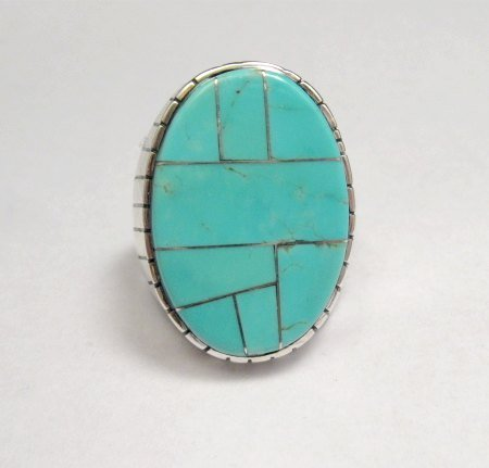 Image 0 of Ray Jack, Navajo, Turquoise Inlay Sterling Silver Mens Ring Sz12