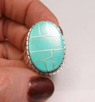 Image 5 of Ray Jack, Navajo, Turquoise Inlay Sterling Silver Mens Ring Sz12