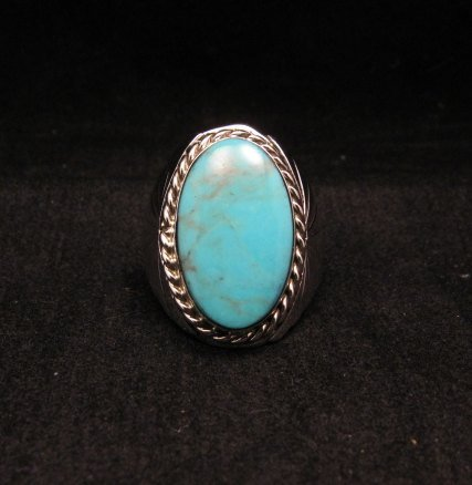 Image 1 of Navajo Native American Turquoise Silver Ring Betty Bitsie Sz10