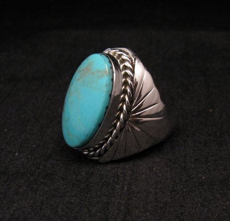 Image 0 of Navajo Native American Turquoise Silver Ring Betty Bitsie Sz10