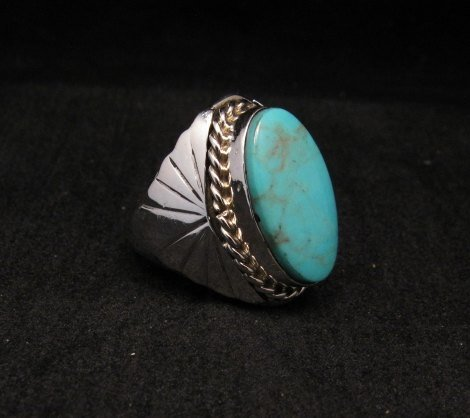 Image 2 of Navajo Native American Turquoise Silver Ring Betty Bitsie Sz10