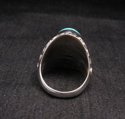 Image 3 of Navajo Native American Turquoise Silver Ring Betty Bitsie Sz10