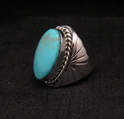 Navajo Native American Turquoise Silver Ring Betty Bitsie Sz10