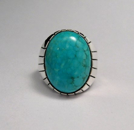 Image 0 of Ray Jack Navajo Turquoise Sterling Silver Ring Sz10-1/2