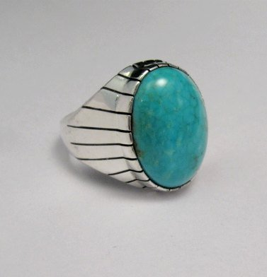 Image 1 of Ray Jack Navajo Turquoise Sterling Silver Ring Sz10-1/2