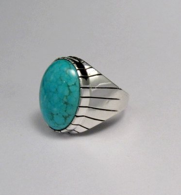 Image 2 of Ray Jack Navajo Turquoise Sterling Silver Ring Sz10-1/2