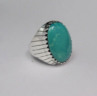 Image 2 of Navajo Native American Turquoise Silver Ring, Ray Jack, Sz12