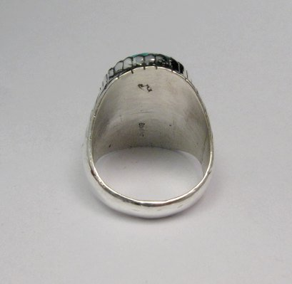 Image 3 of Navajo Native American Turquoise Silver Ring, Ray Jack, Sz12