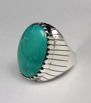 Image 1 of Navajo Native American Turquoise Silver Ring, Ray Jack, Sz12