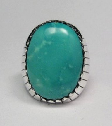 Image 0 of Navajo Native American Turquoise Silver Ring, Ray Jack, Sz12