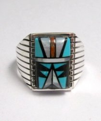 Navajo Native American Multi-Stone Inlay Silver Ring, Sam Begay Sz11-1/2