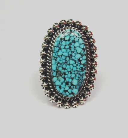 Image 0 of A++ Native American Navajo Natural Kingman Web Turquoise Ring Sz7-1/2