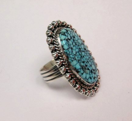 Image 1 of A++ Native American Navajo Natural Kingman Web Turquoise Ring Sz7-1/2